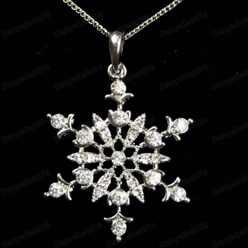 QUALITY CRYSTAL pendant SNOWFLAKE NECKLACE winter snow 18 ...
