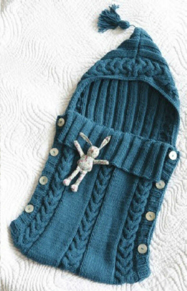 Baby Sleeping Bag Knitting Pattern : Aran Baby Sleeping Bag Tassel/Hood - Button Sides 0 - 3 Months Knitting Patte...