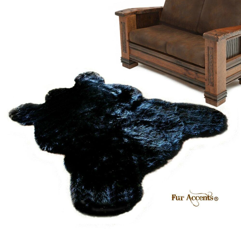 FUR ACCENTS Life Size Bear Skin Rug / Plush Black / Shaggy