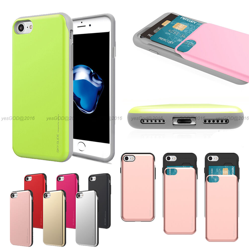 Shock Protection 2 Card Slot Wallet Slide Bumper Case Cover For Goospery Iphone 7 Sky Gold Galaxy Lg Ebay