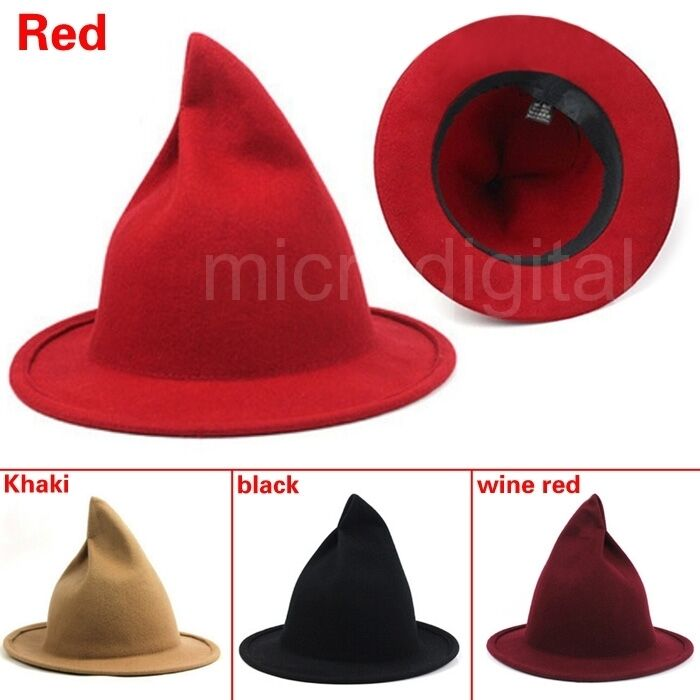 Details about Winter Men Women Unisex Witch Pointed Wool Hat Cap Bowler  Fedora Cap Trilby New d0c8a223cd7
