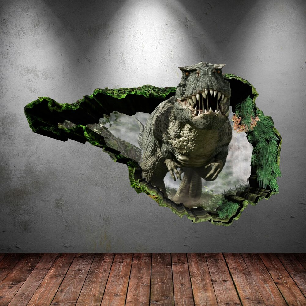 3d dinosaur t rex wall art sticker boys bedroom decal mural transfer graphic ebay. Black Bedroom Furniture Sets. Home Design Ideas
