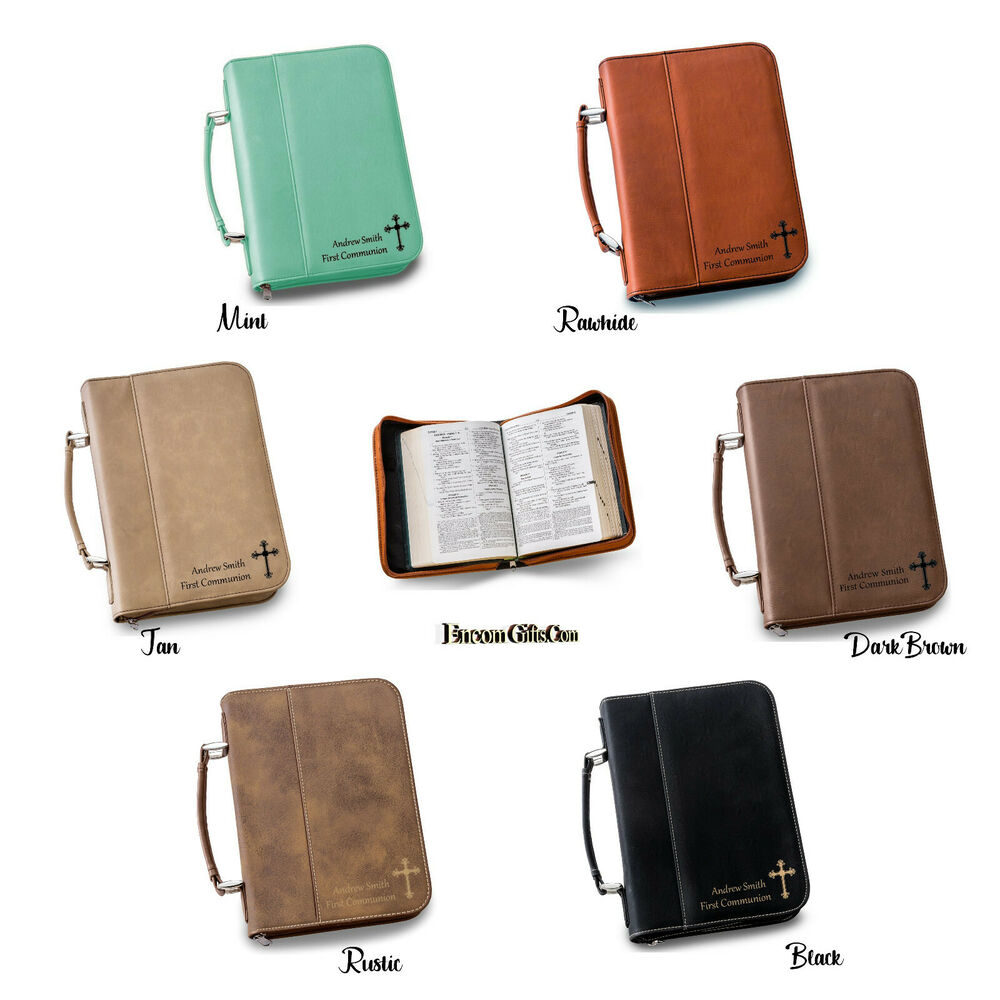 personalized bible book cover small faux leather zipper