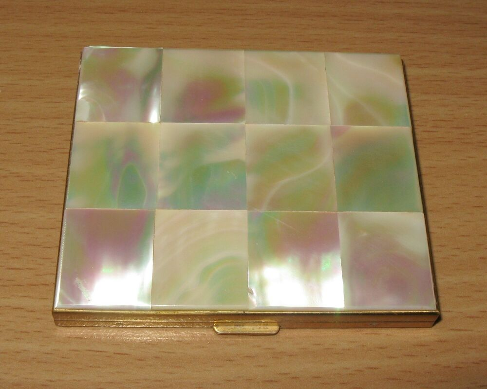Vintage Mop Mother Of Pearl Goldtone Powder Compact With
