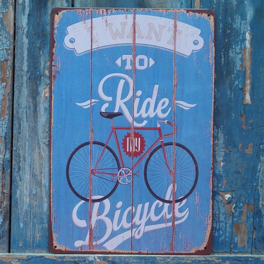 Vintage Poster Ride Bicycle Retro Metal Tin Signs Art Wall