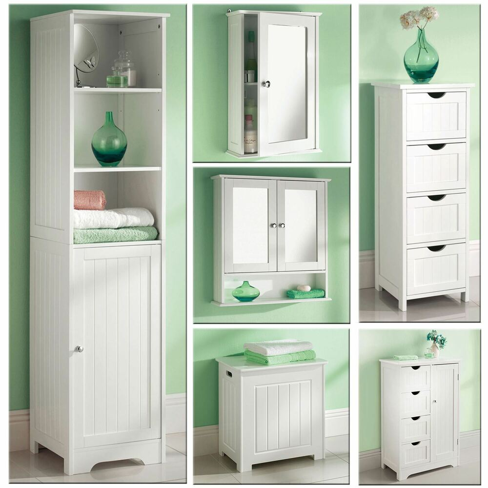Bathroom Cabinets: White Wooden Bathroom Cabinet Shelf Cupboard Bedroom