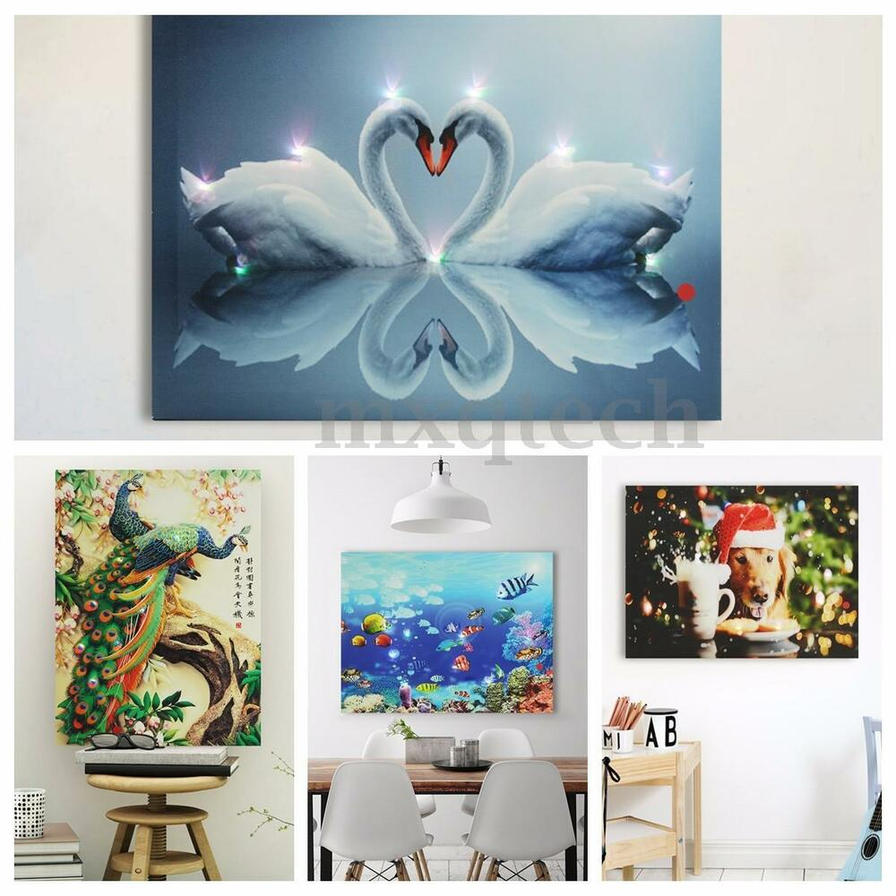 lighted swan christmas xmas canvas art picture print home wall decor 40x30cm ebay. Black Bedroom Furniture Sets. Home Design Ideas