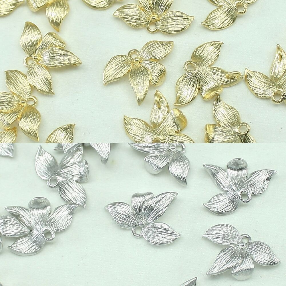 Silver Beads: Leaf Metal Beads Pendants Gold Silver Beads For Jewelry Making Supplies #205