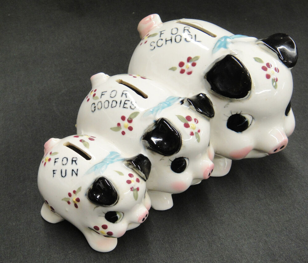 Vintage Piggy Bank 3 Adjoined Ceramic Pigs Save For School