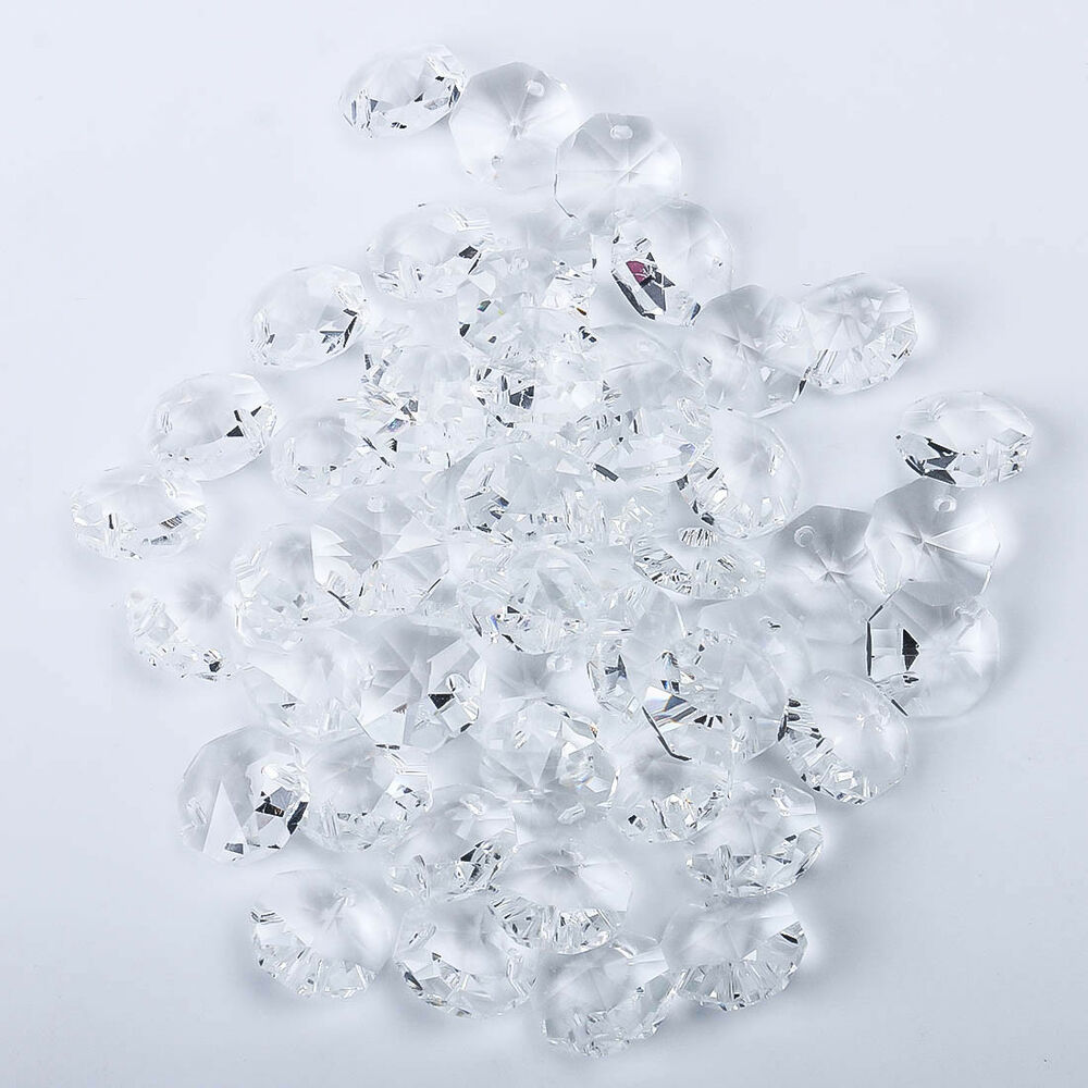 200 pcs clear crystal glass chandelier part prisms octagonal beads decor 14mm ebay - Chandelier glass beads ...