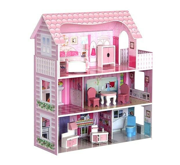 Large Children 39 S Wooden Dollhouse Fits Pink Barbie Doll House With 8 P Furniture Ebay