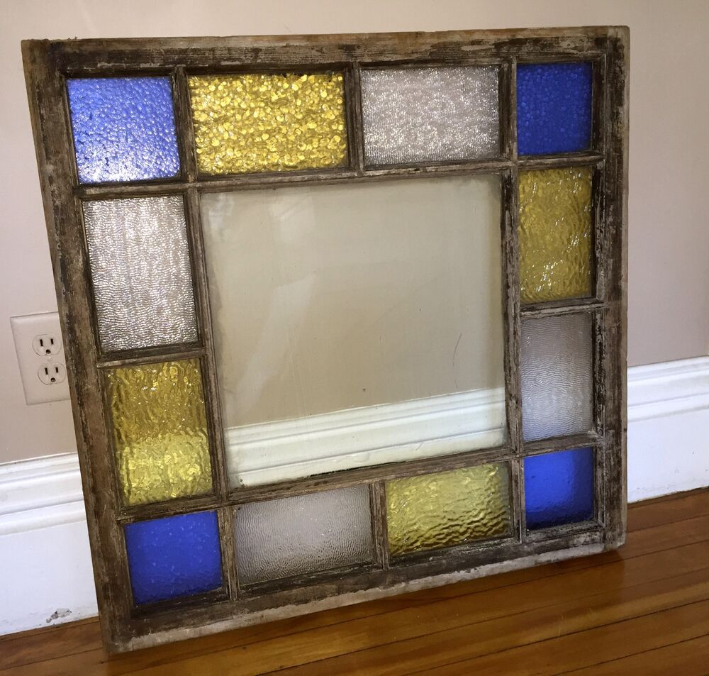 Antique Queen Anne Victorian Stained Glass Window 29 By