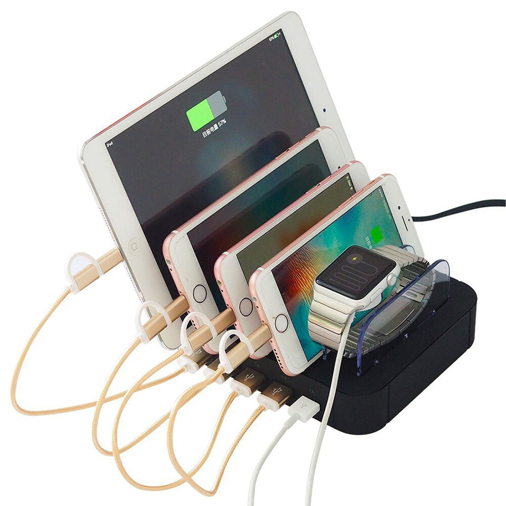 5 port usb hub charging dock station charger stand for ipad iphone tablet phone ebay. Black Bedroom Furniture Sets. Home Design Ideas