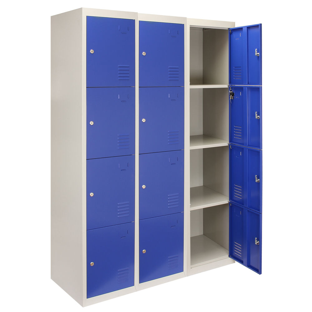 metal storage locker 3 x steel lockers 4 doors metal staff storage lockable 23292