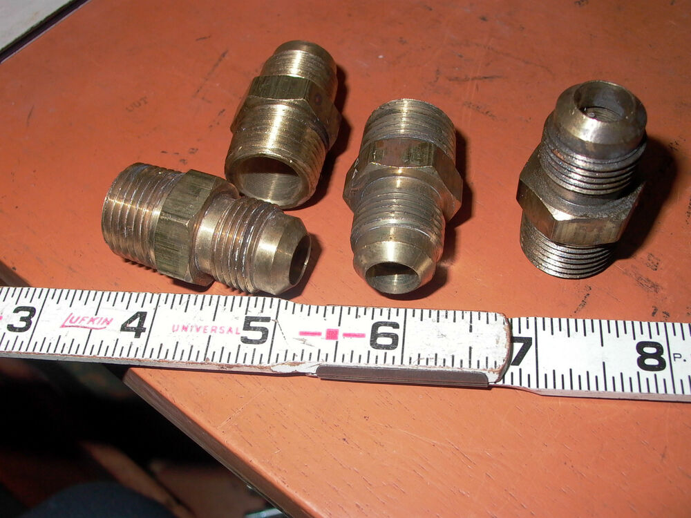 Lot of four brass straight adapters flared tube fittings