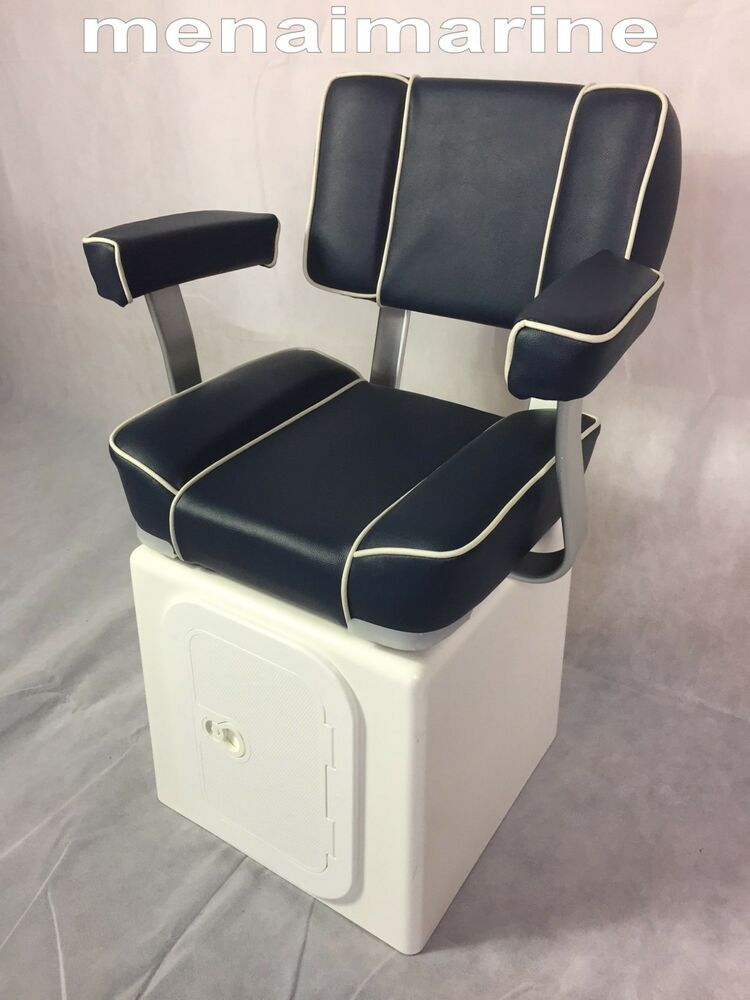 Captains Boat Seat With Grp Seat Storage Box 360 Swivel