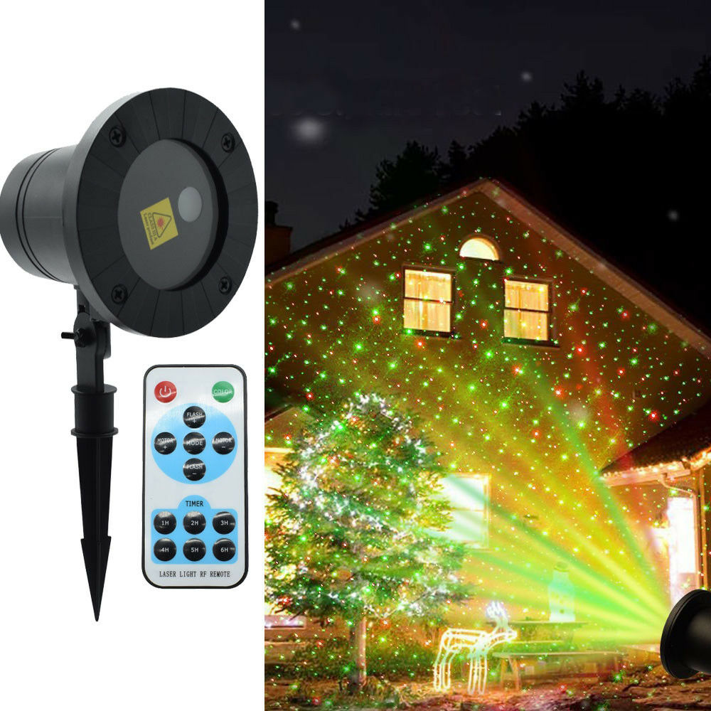 Waterproof Outdoor Xmas R&G Lawn Garden Laser Projector