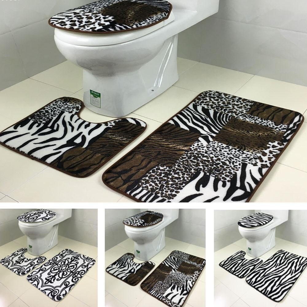 Sexy Leopard Print Toilet Cover Set 3 Pc Bathroom Mat Rug