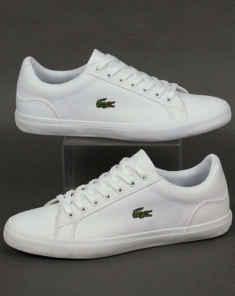 fe27a2a52 Lacoste Lerond BL Trainers in White - canvas low top sneaker