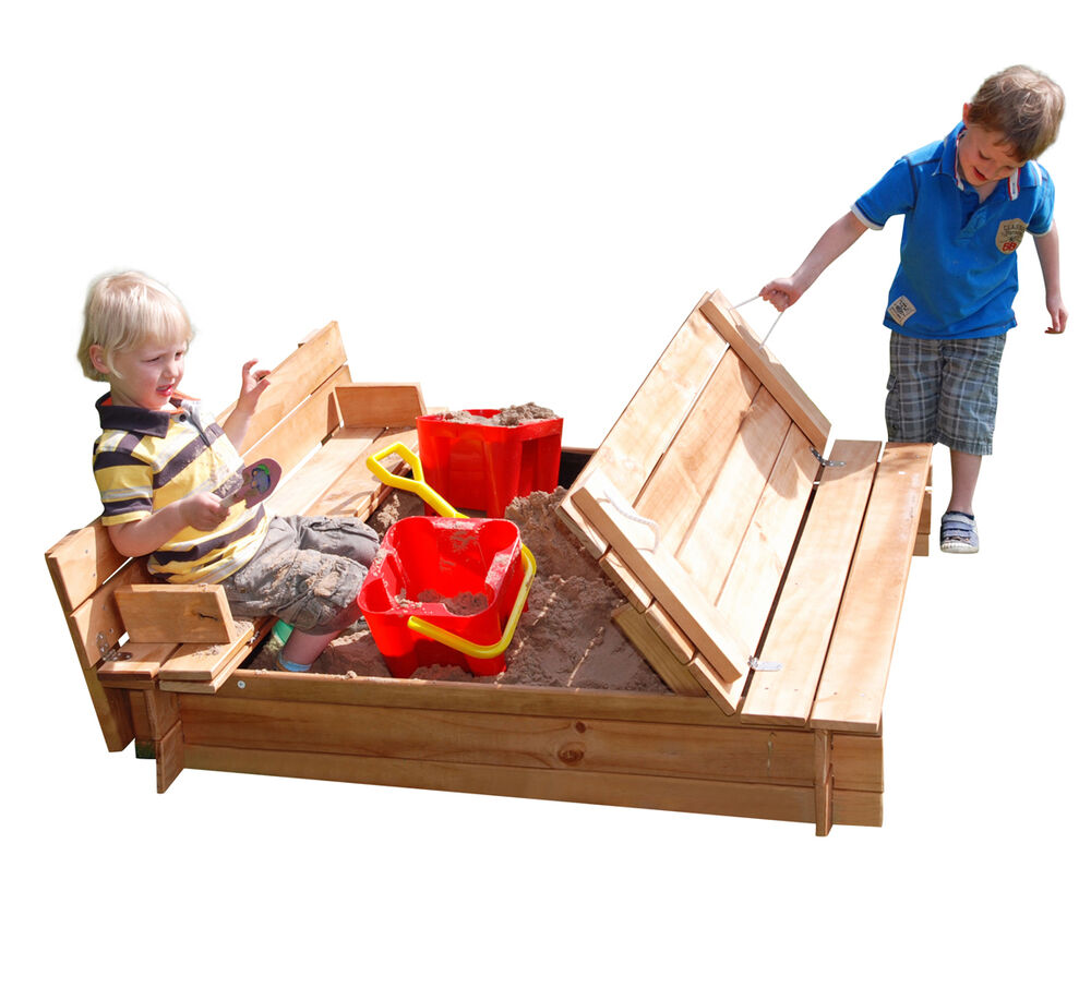 garden games 4ft sq wooden sandpit the benches fold into a. Black Bedroom Furniture Sets. Home Design Ideas