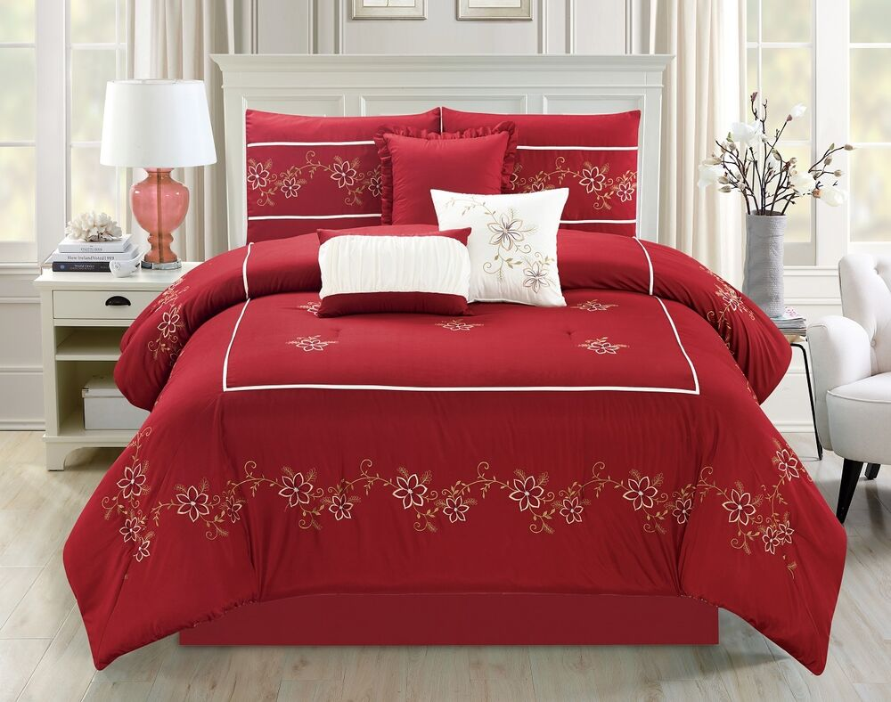 Gorgeous 7-piece Embroidered Floral Lily Red/Ivory Bedding