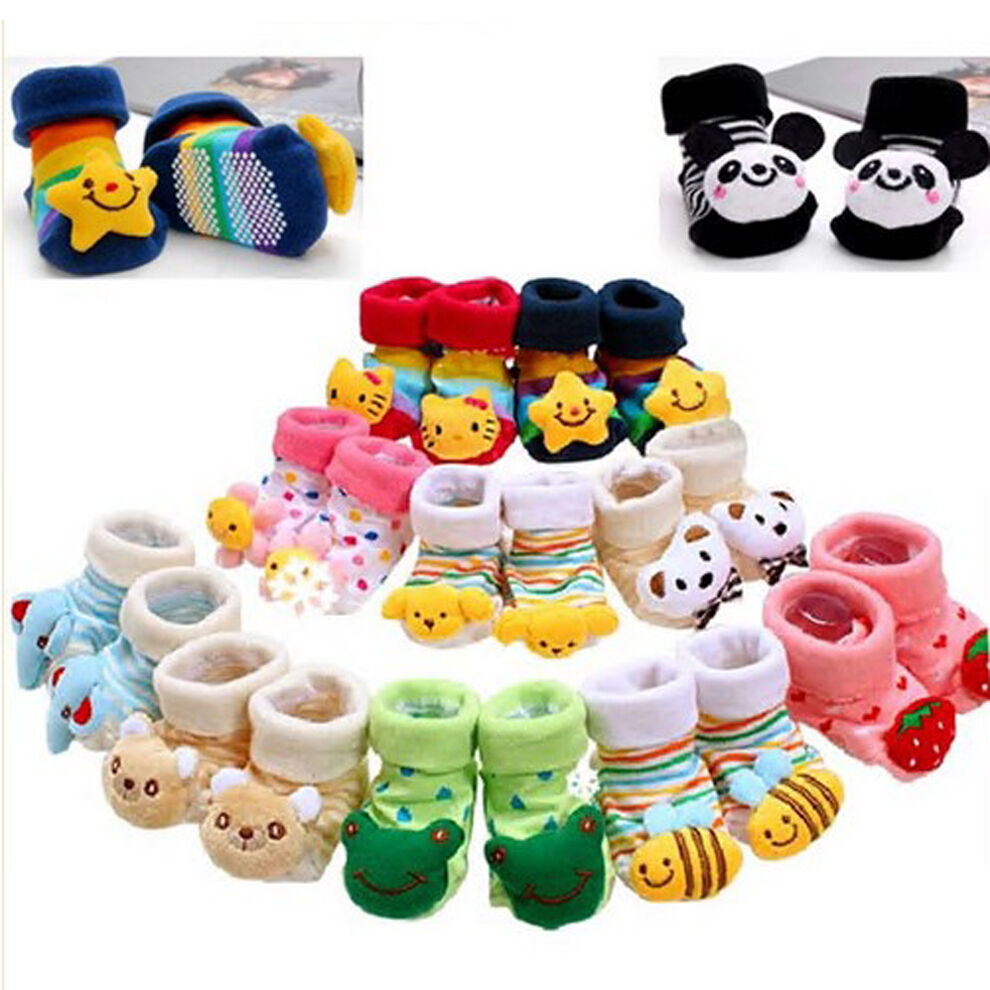 Baby Girl Boy Anti-slip Socks Cartoon Newborn Slipper ...