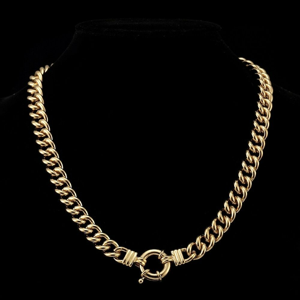 18k yellow gold gl womens solid chunky euro necklace. Black Bedroom Furniture Sets. Home Design Ideas