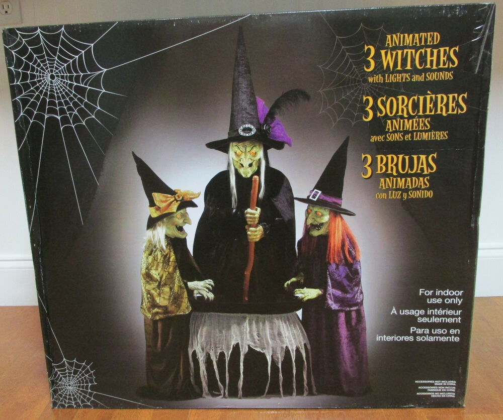 Moving Halloween Decorations: Animated 3 Witches With Lights And Sounds, Halloween Party