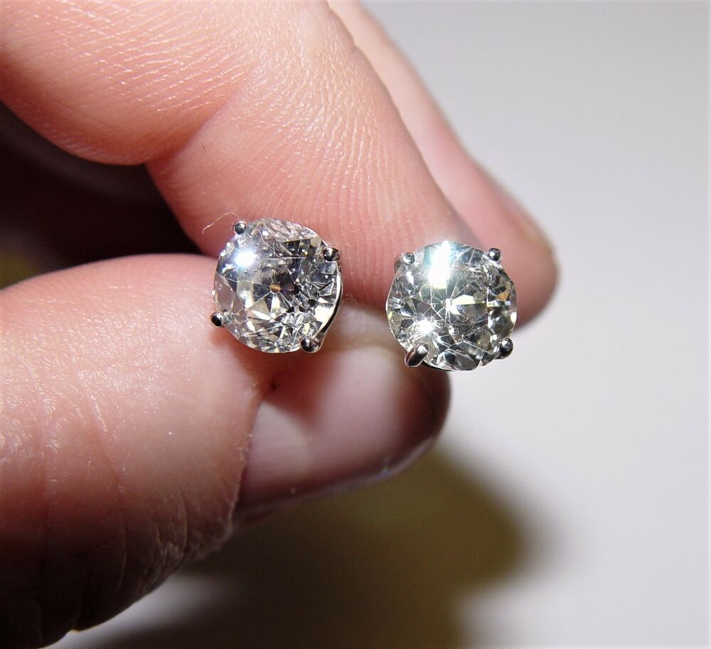 3.48CT TW Old Mine Cut Diamond Stud Earrings 14K ALL NATURAL | eBay