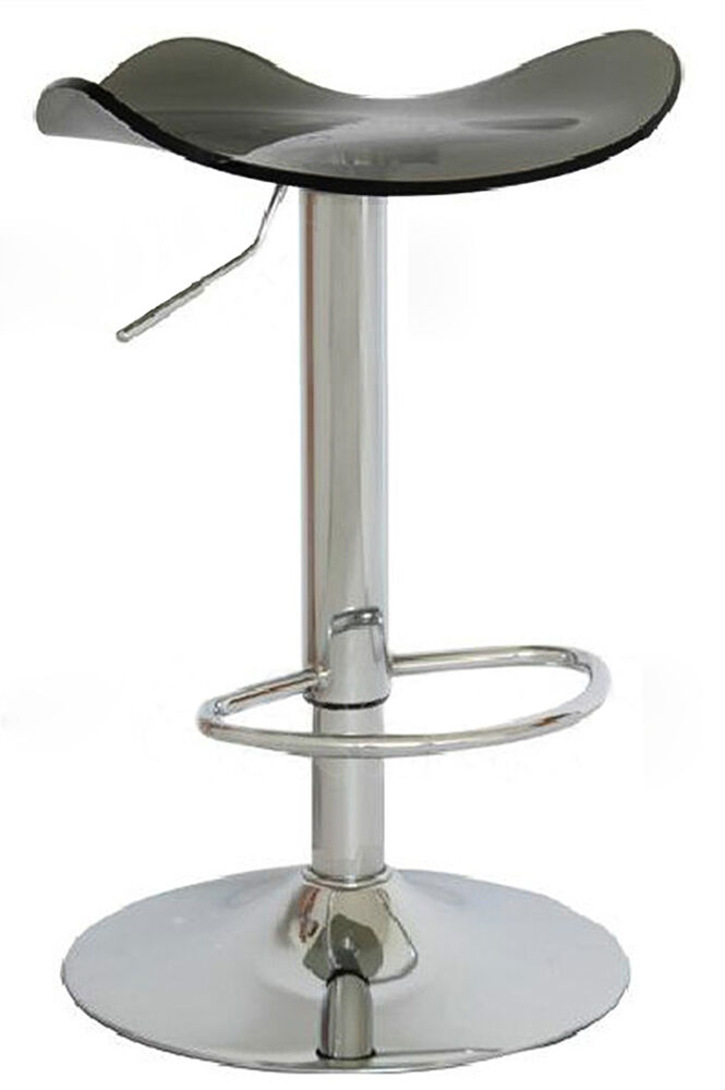 Acrylic swivel bar stool vanity counter chair adjustable gaslift home cafe gray ebay - Swivel vanity stool with back ...