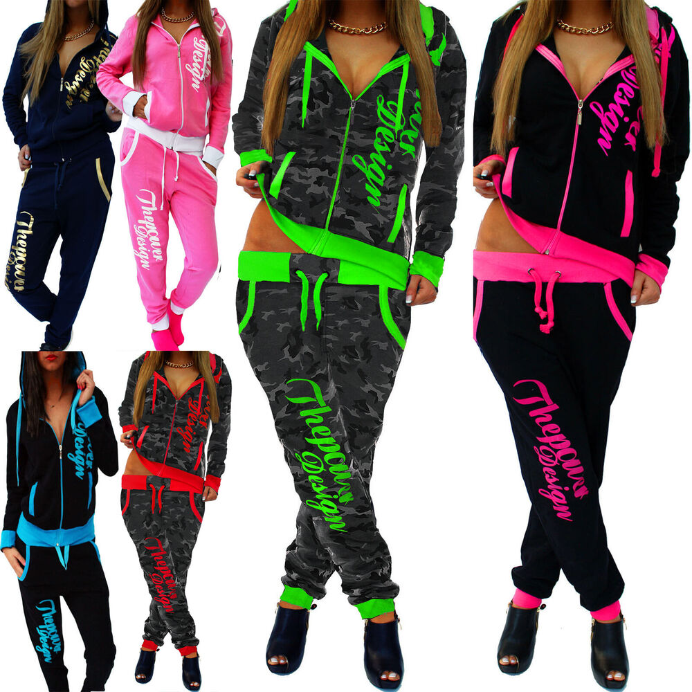 damen jogginganzug jogging hose jacke sportanzug sporthose fitness hoodie hose ebay. Black Bedroom Furniture Sets. Home Design Ideas