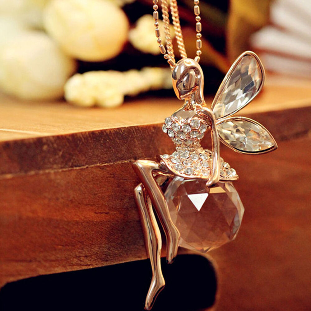 fashion crystal angel wings long chain necklace butterfly. Black Bedroom Furniture Sets. Home Design Ideas