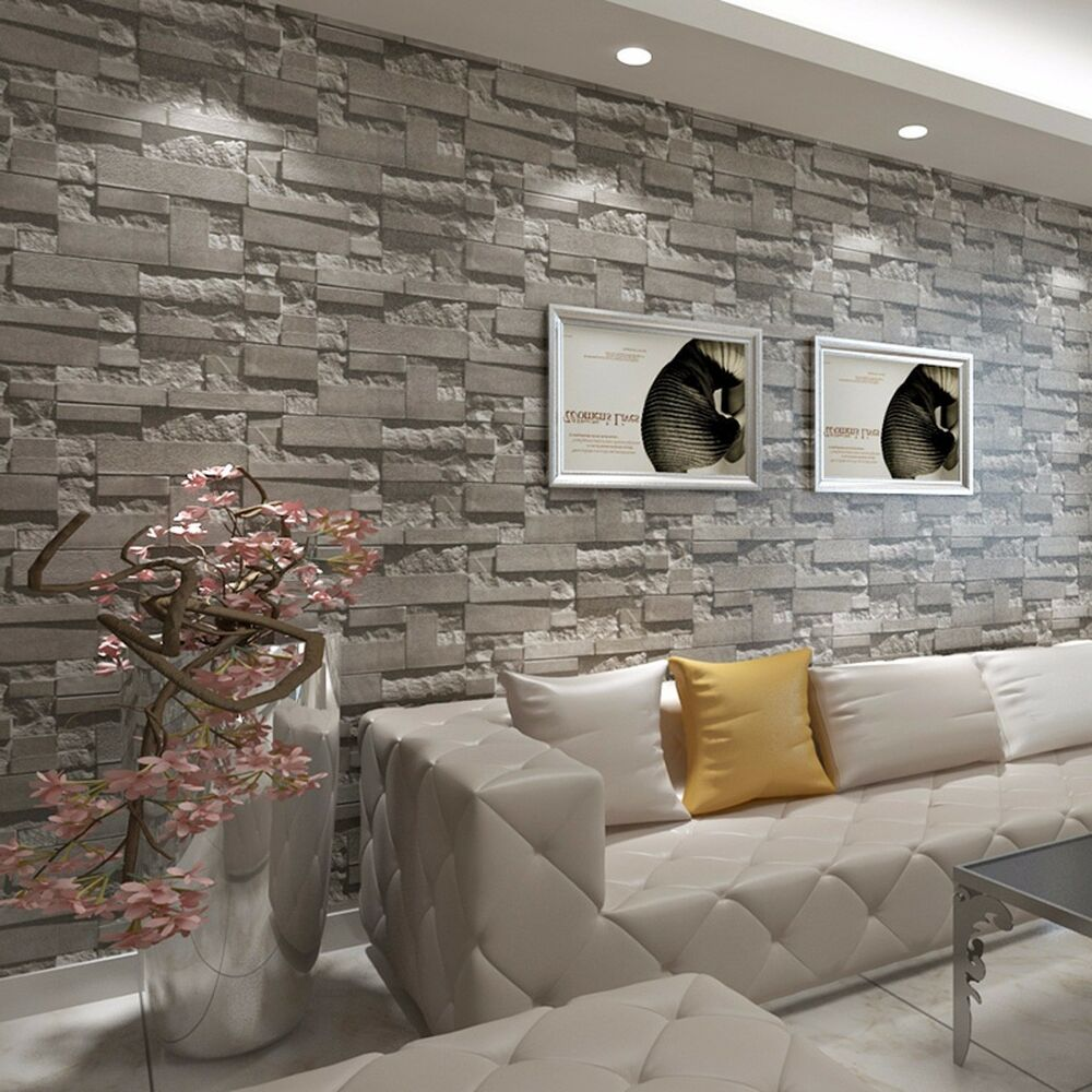 Modern 3d brick wallpaper bedroom living room wall for Modern 3d wallpaper for bedroom