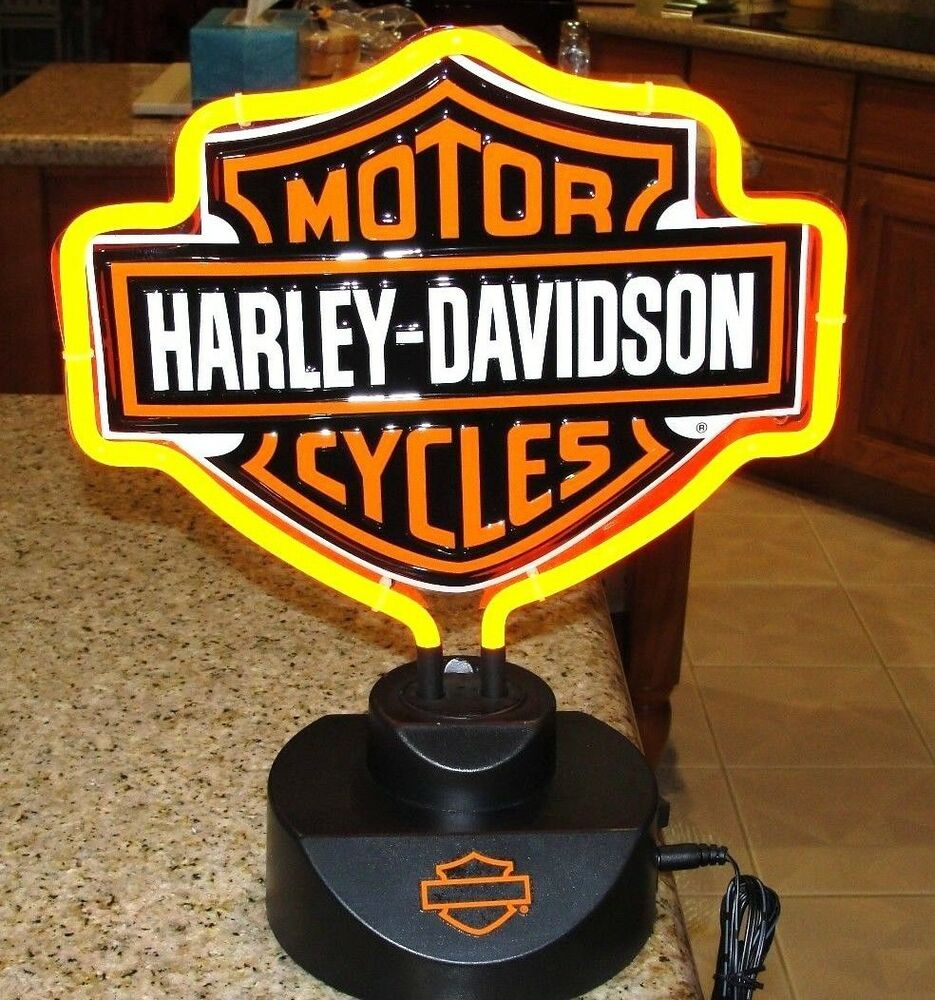 HARLEY DAVIDSON MOTORCYCLE BAR SHIELD LOGO NEON TABLE Or