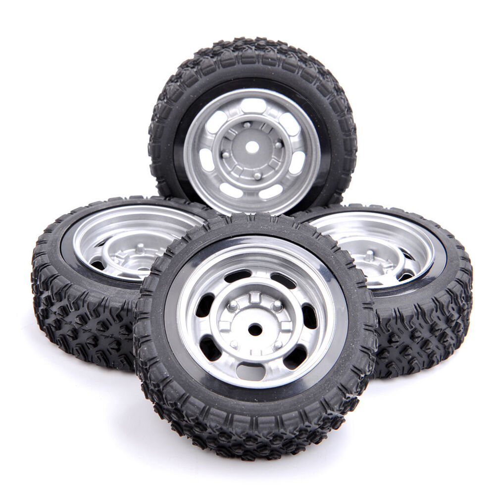 4pcs Rubber Tire Amp Wheel For 1 10 Rc Rally Racing Off Road