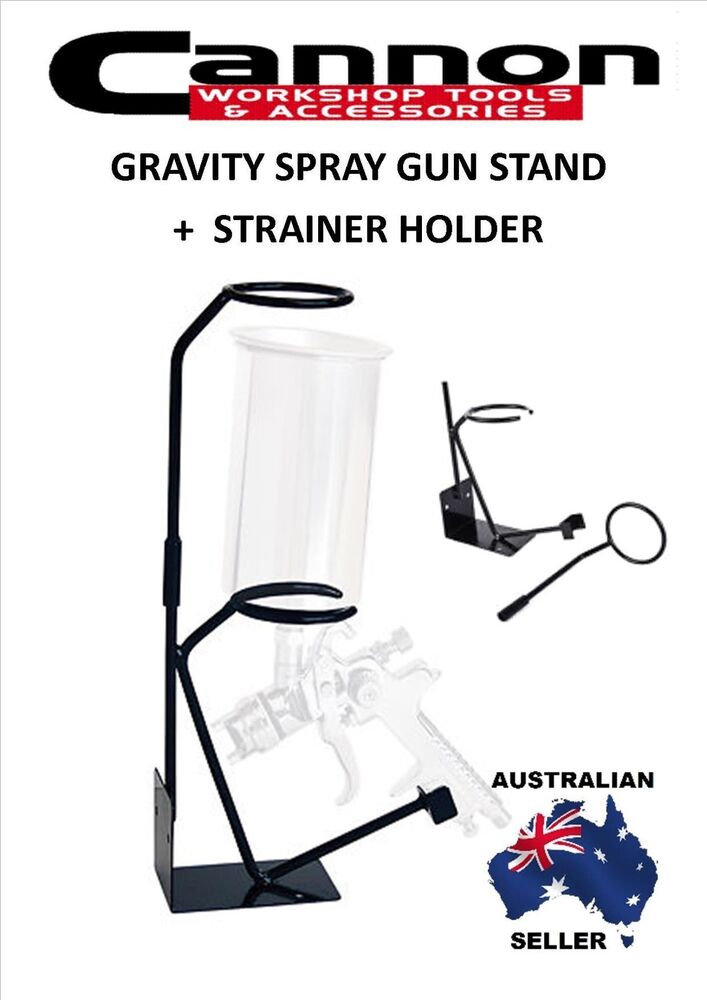 Gravity Feed Paint Spray Gun Stand With Strainer Holder