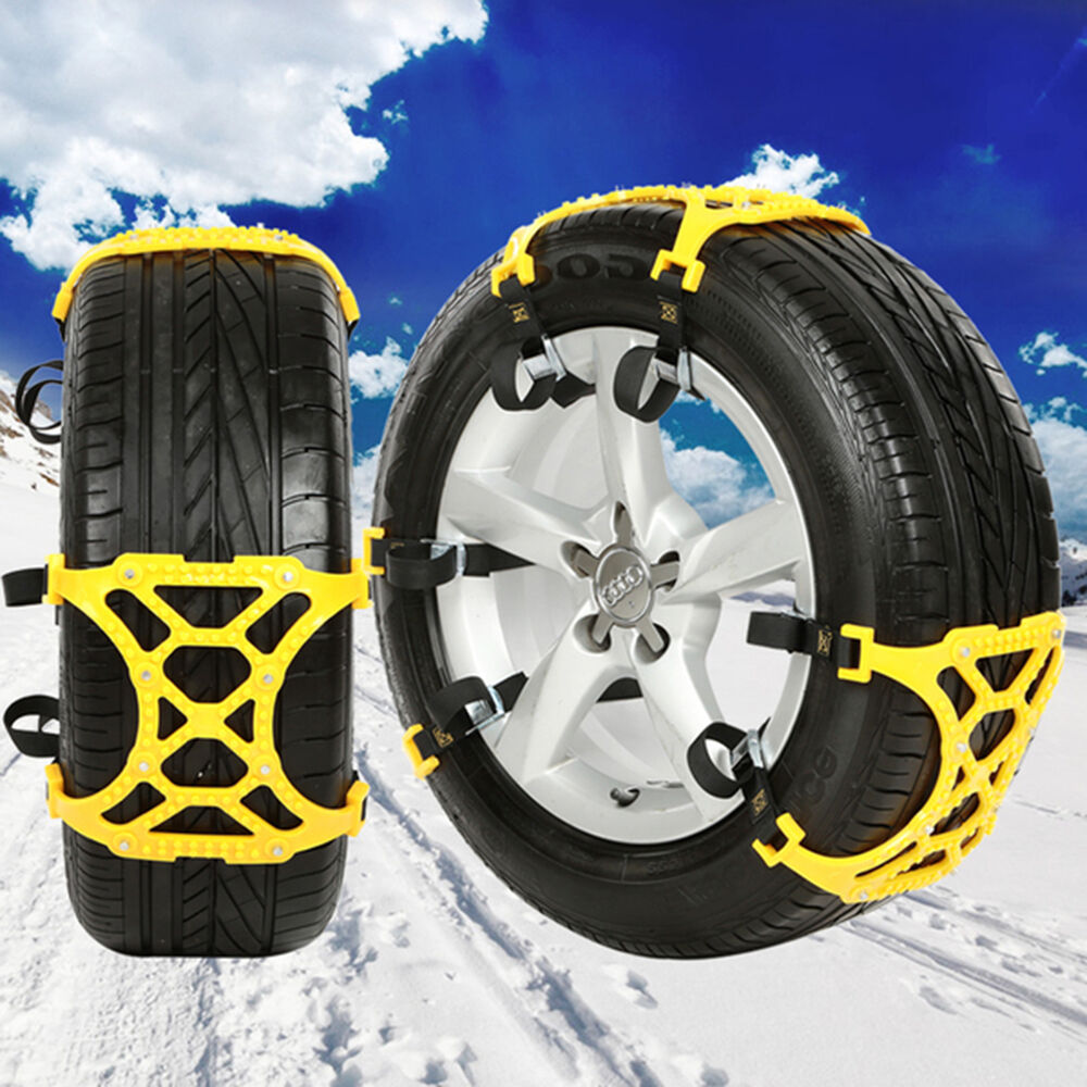 4pc winter truck car snow chain tire anti skid belt easy installation new ebay. Black Bedroom Furniture Sets. Home Design Ideas