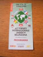 17/04/2003 At Bellinzona: International Youth Tournament Programme - Including,