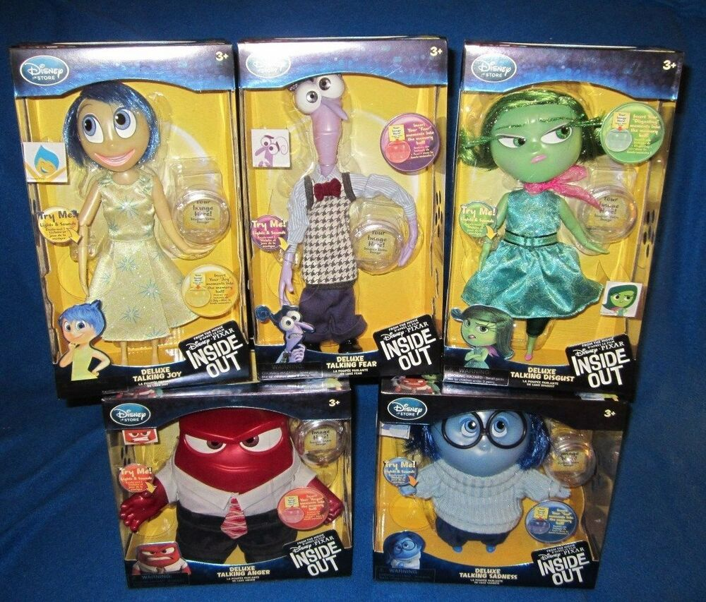 disney store inside out deluxe talking sadness anger fear joy disgust set new ebay. Black Bedroom Furniture Sets. Home Design Ideas