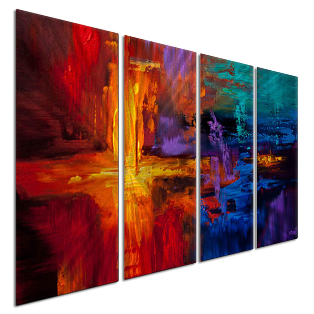 Colorful Wall Decor: Metal Wall Art Colorful New World By Artist Osnat USA Made