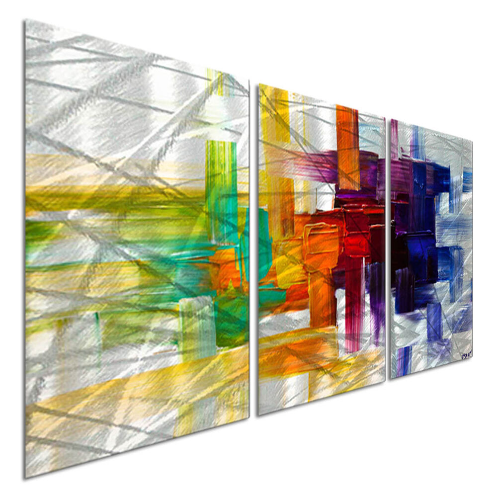 Colorful Wall Decor: Metal Wall Art Colorful Abstract Modern Contemporary Décor