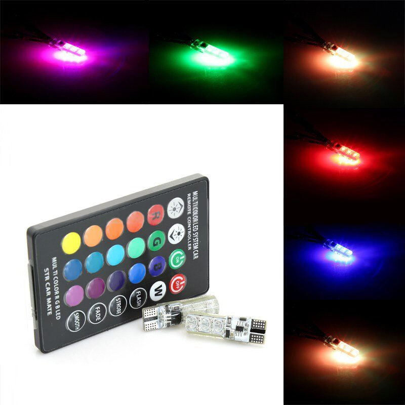 2x t10 rgb 16colors changing led car wedge lamp interior light remote control ebay. Black Bedroom Furniture Sets. Home Design Ideas