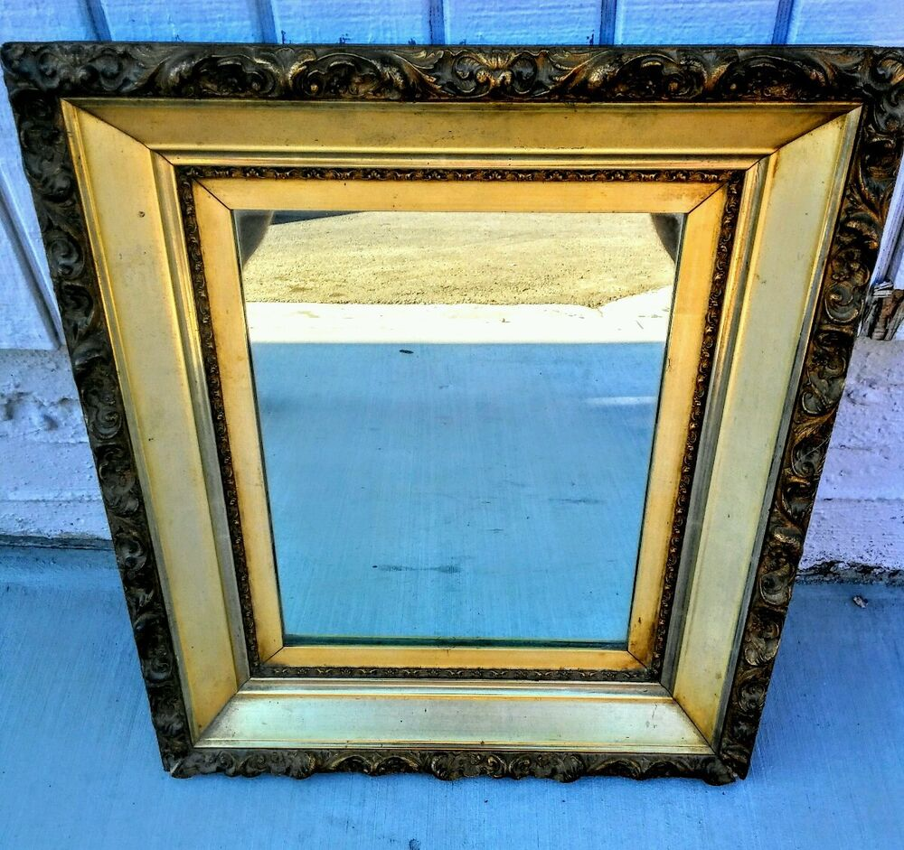 Antique Ornate Frame With New Mirror Gold Pine Gilt Wood