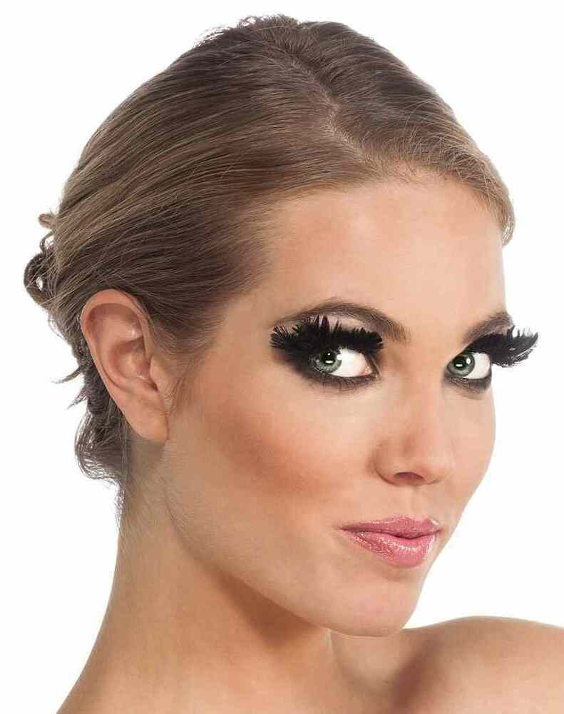 573df703346 Details about Black Feather Eyelashes Fake Lashes Fancy Dress Halloween  Costume Accessory