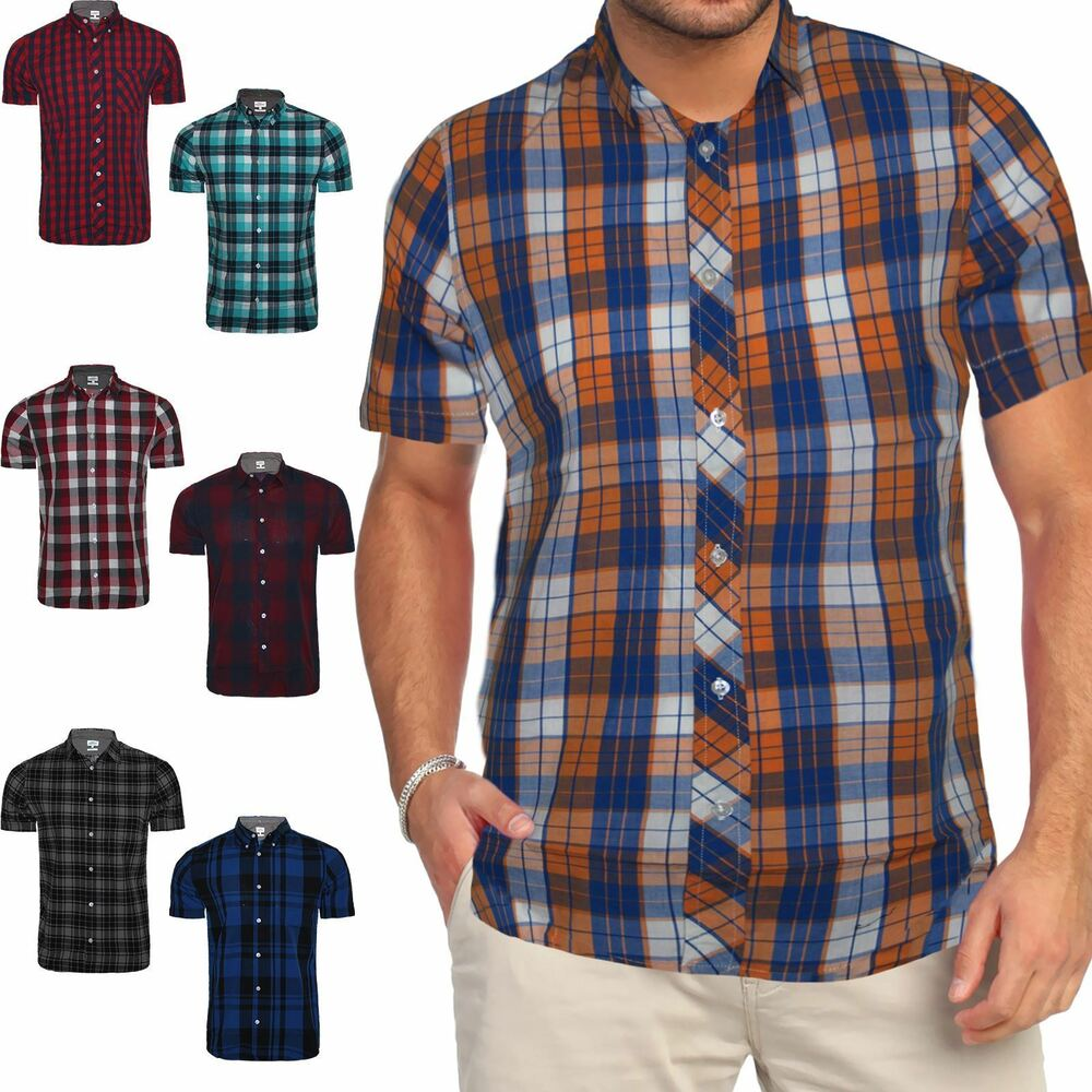 Mens next short sleeve casual check print smart cotton for Mens xl flannel shirts