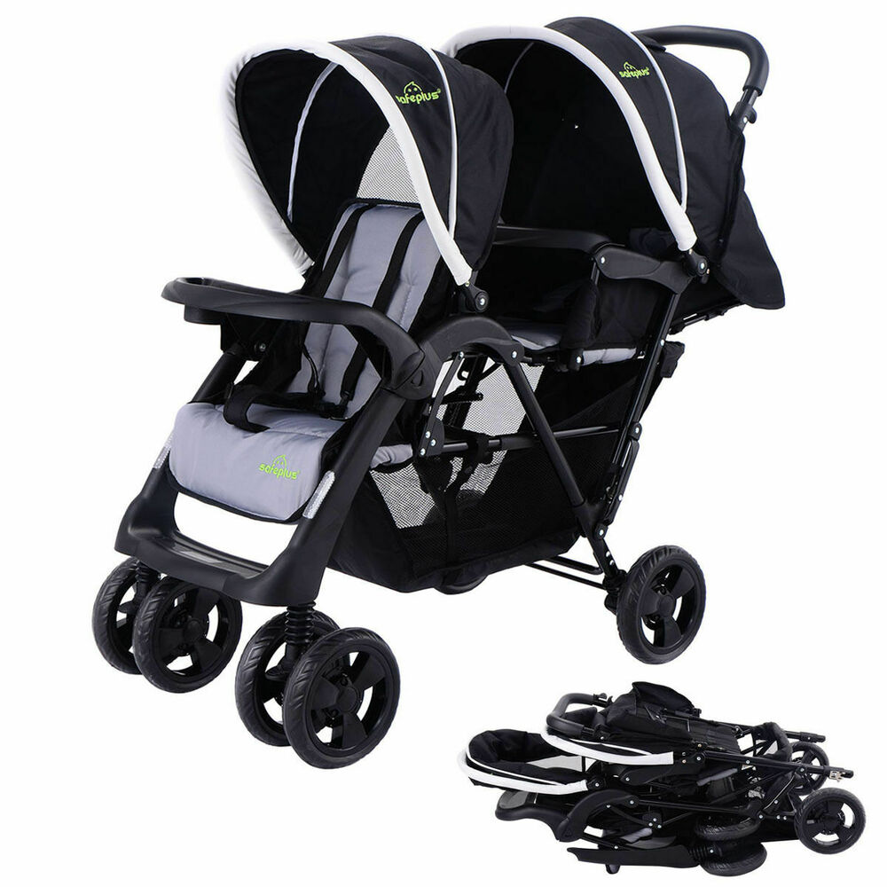 Foldable Twin Baby Double Stroller Kids Jogger Travel ...