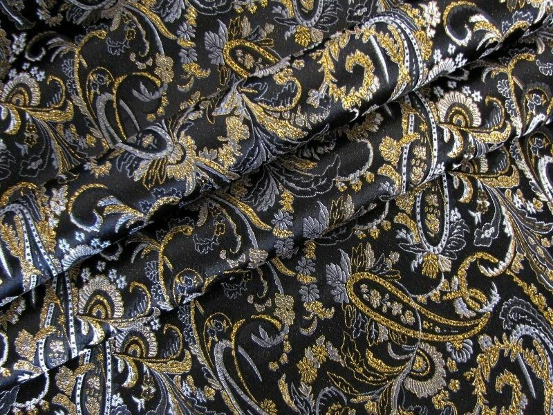 lurex jacquard meterware stoff kost m dekostoff paisley schwarz gold ebay. Black Bedroom Furniture Sets. Home Design Ideas