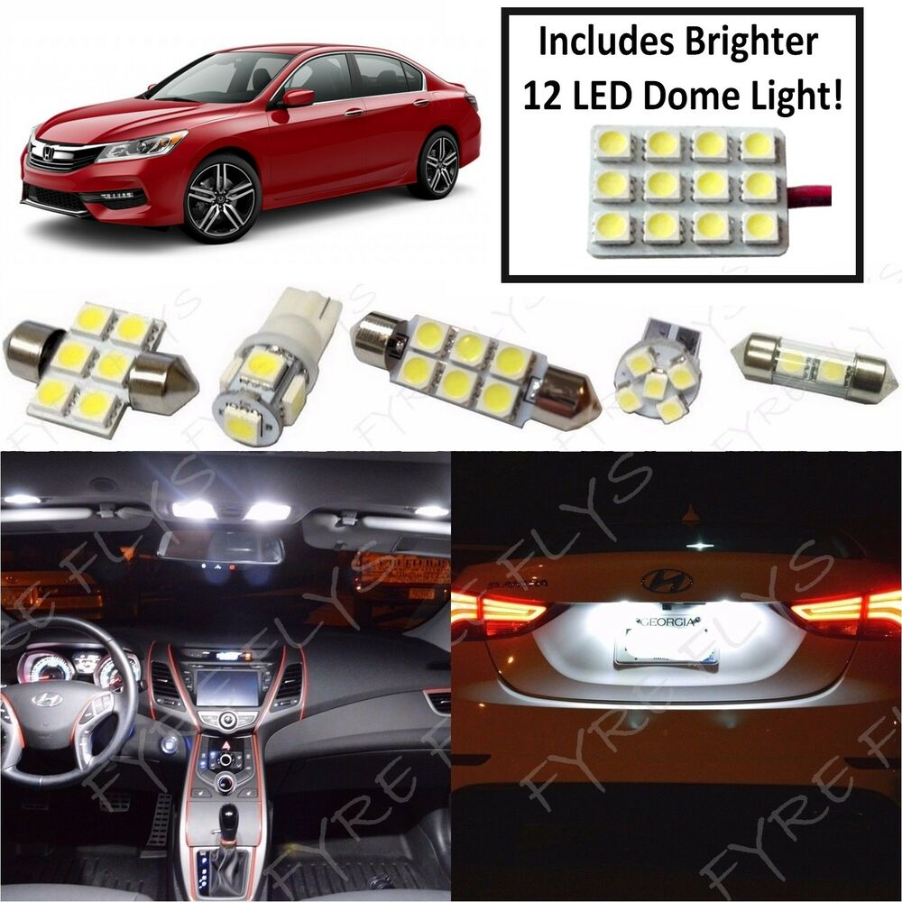 white led interior lights package 12 piece kit for 2013 2017 honda accord ha7w ebay. Black Bedroom Furniture Sets. Home Design Ideas