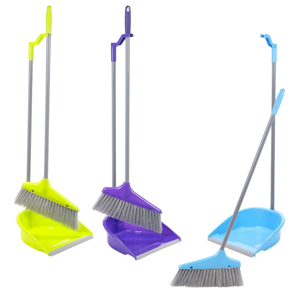 Upright Long Handle Dustpan And Brush Set Broom Sweep