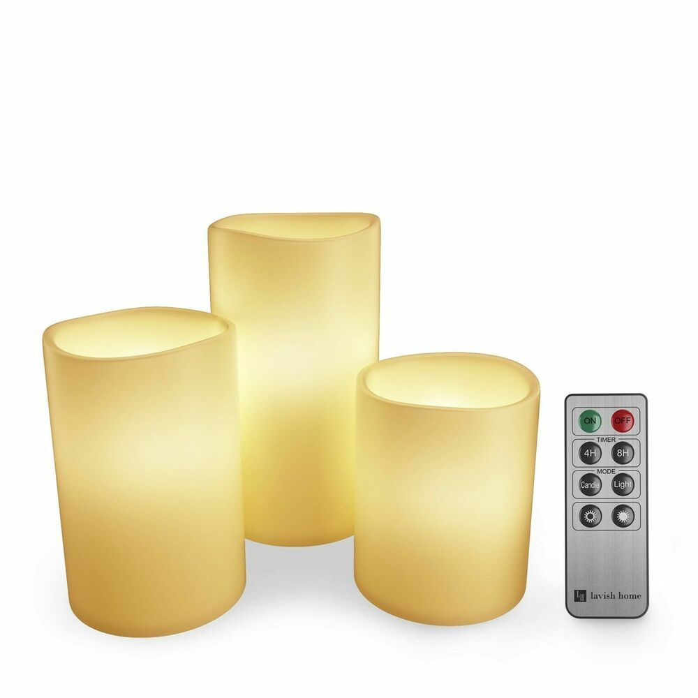 3 Piece Led Flameless Candle Set With Remote 4 And 8 Hr